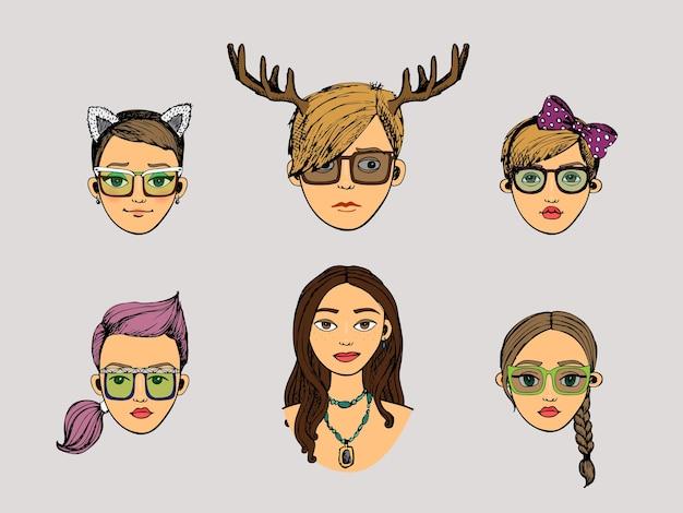 Vector, ciervo, niñas, cabezas, en, hipster, estilo, conjunto