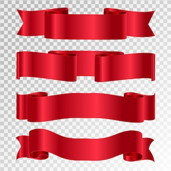 Vector cintas rojas conjunto de banner de cinta.