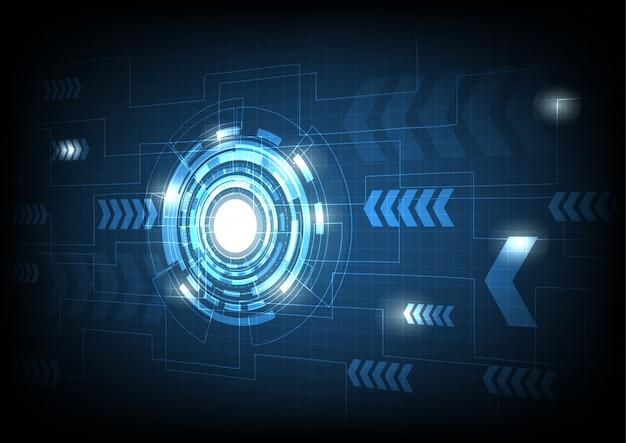 Vector de círculo y línea eléctrica con fondo azul ciclo electrónico