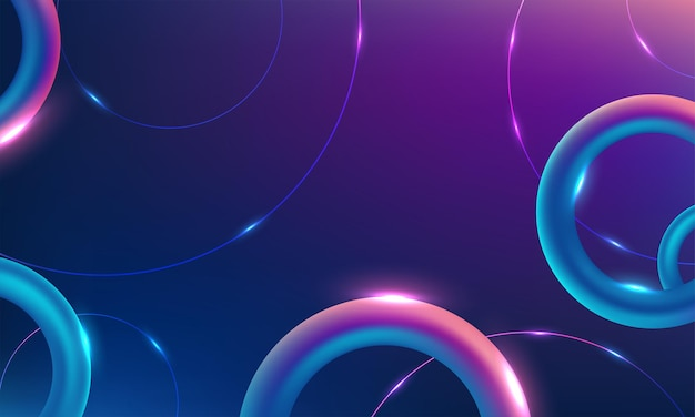 Vector círculo de neón vibrante con resplandor