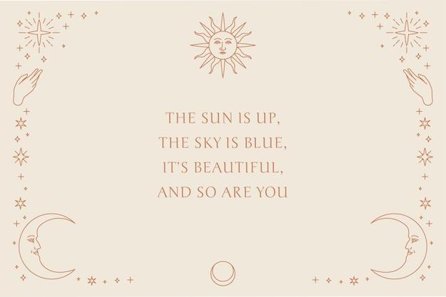 Vector de cita inspiradora decorado con símbolos lineales celestiales en plantilla de fondo beige