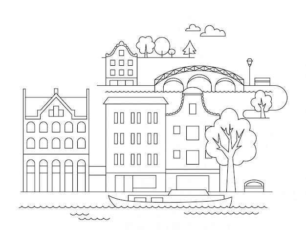 Vector ciudad ilustración en estilo lineal