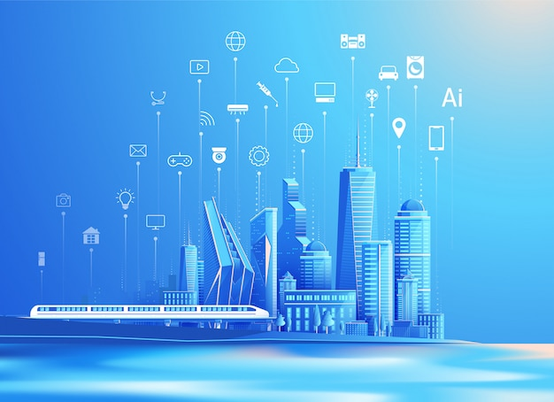 Vector de ciudad inteligente e internet de las cosas concepto de diseño plano
