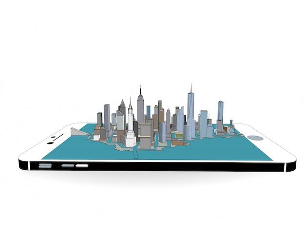Vector de la ciudad de nueva york en el teléfono 3d
