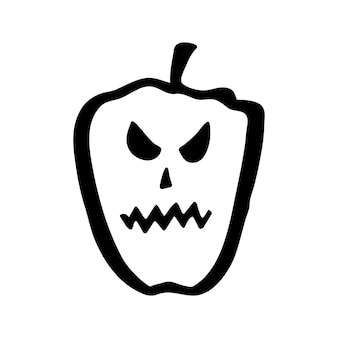 Vector clipart de calabaza de halloween. ilustración divertida y linda para diseño de temporada, textil, decoración de sala de juegos para niños o tarjeta de felicitación. grabados dibujados a mano y garabatos.