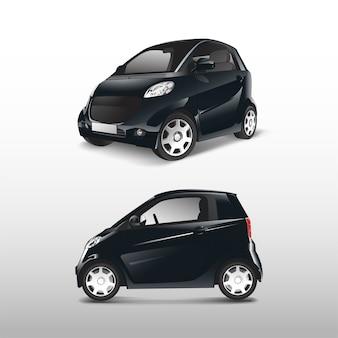 Vector de coche híbrido compacto negro