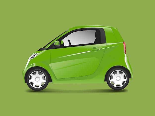 Vector de coche híbrido compacto verde