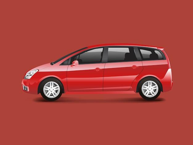 Vector de coche monovolumen mpv rojo