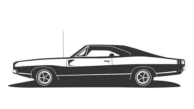 Vector de coche de músculo americano. hot rod vintage con motor de potencia cupé.