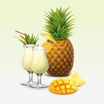 Vector de cócteles tropicales y frutas adornadas con rodaja de naranja, cuña de piña, tubos de paja roja, paraguas amarillo aislado sobre fondo claro