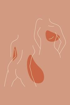 Vector de colección de arte lineal femenino