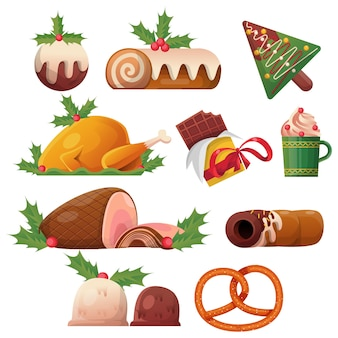 Vector de colección de comida de navidad