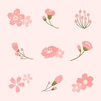 Vector de colección de elementos de flor de cerezo rosa