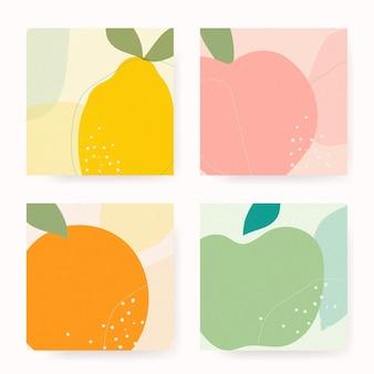 Vector de colección de fondo de memphis de frutas dibujadas a mano