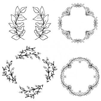 Vector de colección de hermosas guirnaldas florales