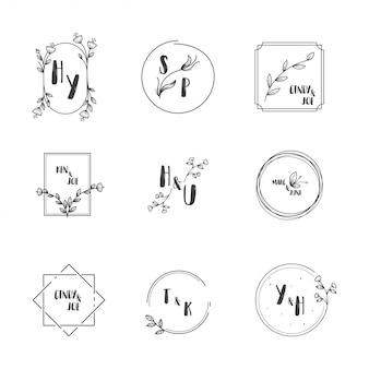 Vector de colección de logo de boda
