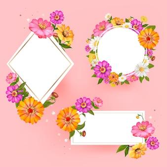 Vector de colección de marco floral en blanco