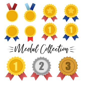 Vector de colección de medallas de oro, plata y bronce.