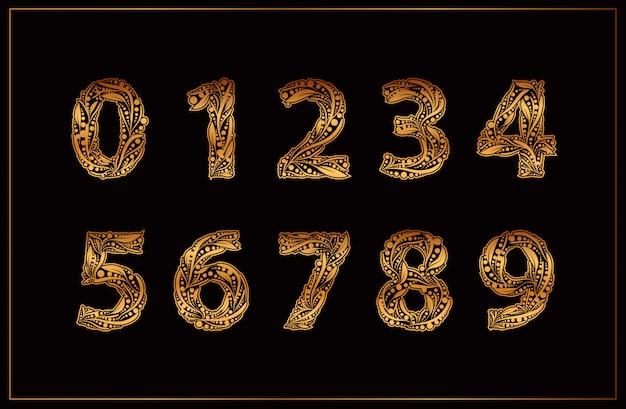 Vector de colección de números de oro de lujo