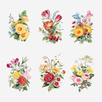 Vector de colección de ramo de flores vintage