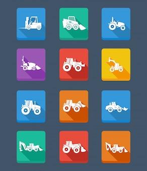 Vector colección tractor y siluetas. iconos
