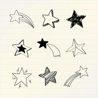 Vector de colección de varias estrellas doodle