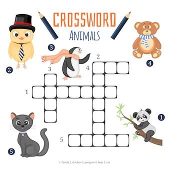 Vector de color crucigrama, juego educativo para niños sobre animales.