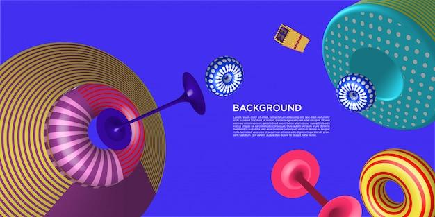 Vector colorido 3d retro fondo geométrico con plantilla de texto