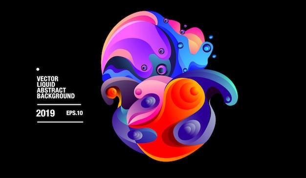 Vector colorido abstracto líquido fondo con curvas
