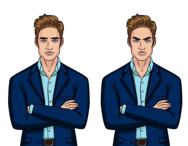 Vector colorido conjunto de dos empresario de humor diferente: carácter enojado y alegre aislado
