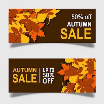 Vector colorido diseño de banner de otoño