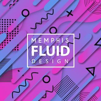 Vector colorido fondo de memphis fluido
