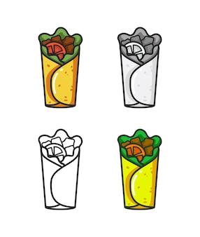 Vector colorido icono de cuatro burrito aislado sobre fondo blanco.