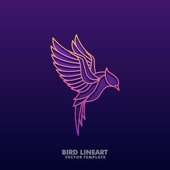 Vector colorido de la ilustración de lineart del pájaro