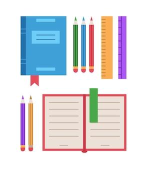 Vector colorido material de oficina conjunto colección de equipo escolar aislado sobre fondo blanco.