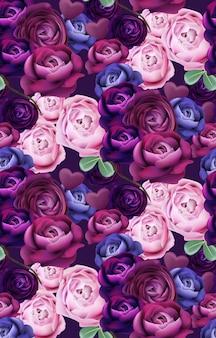 Vector colorido del modelo azul y violeta de las rosas. diseños de moda de fondo vertical