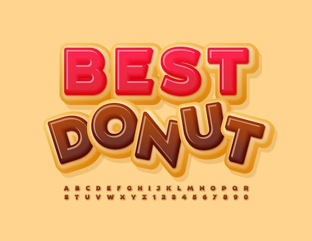 Vector colorido signo mejor donut sabroso brillante fuente chocolate letras del alfabeto y números