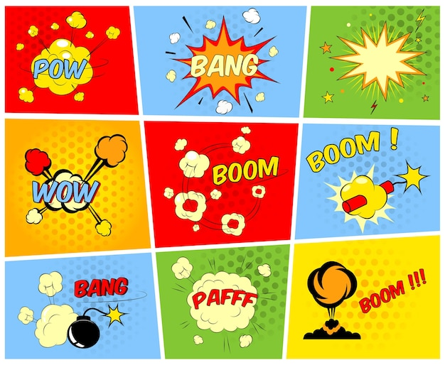 Vector cómico boom o explosión explosiones y conjunto de efectos de sonido cómicos