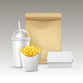Vector de comida rápida conjunto de cartón realista hamburguesa clásica hamburguesa contenedor patatas papas fritas en caja de paquete blanco taza de cartón en blanco para bebidas con paja papel artesanal llevar bolsa de almuerzo con asa.