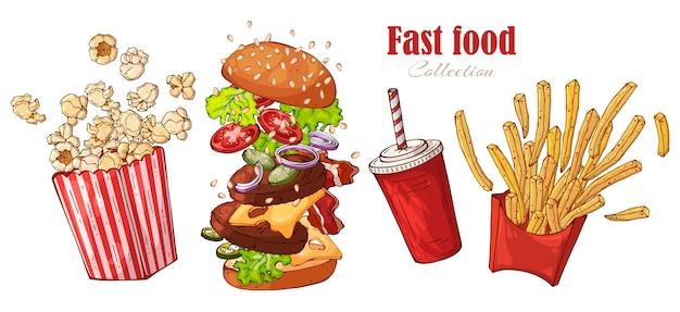 Vector de comida rápida: hamburguesa, papas fritas, palomitas de maíz, bebida.