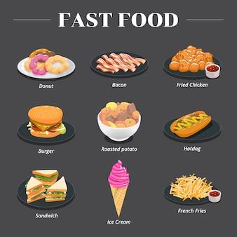 Vector de comida rápida set colección diseño gráfico gráfico