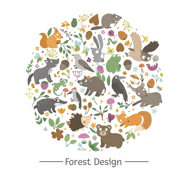 Vector de composición redonda con animales y elementos del bosque