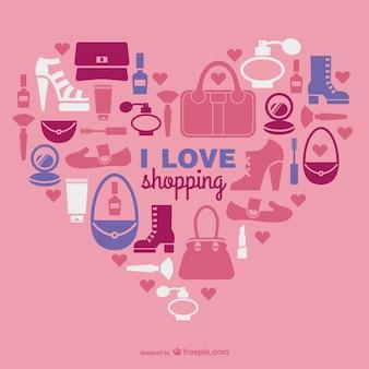 Vector de compras con corazón