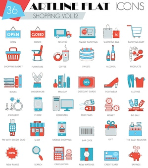 Vector de compras iconos de línea plana
