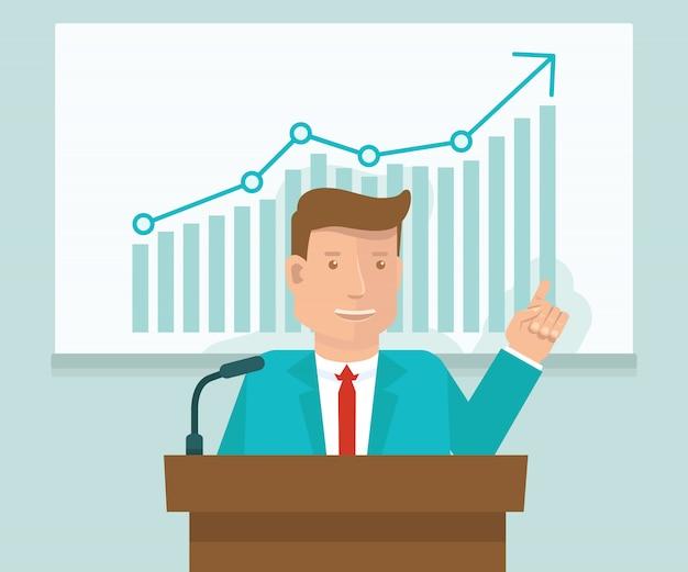 Vector concepto de conferencia de negocios en estilo plano