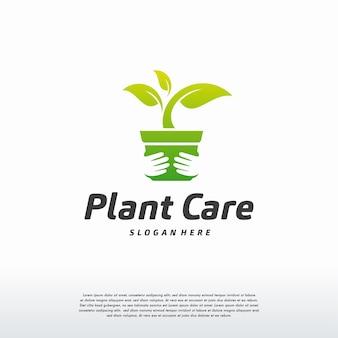 Vector de concepto de diseños de logotipo de cuidado de plantas, plantilla de logotipo de naturaleza