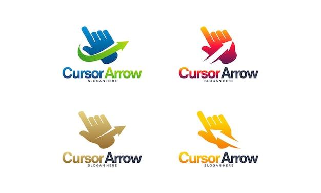 Vector de concepto de diseños de logotipo de cursor de flecha, vector de plantilla de logotipo de cursor rápido