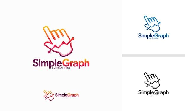 Vector de concepto de diseños de logotipo de gráfico simple, ilustración de vector de plantilla de logotipo de estadísticas en línea
