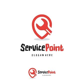 Vector de concepto de diseños de logotipo de punto de servicio, plantilla de icono de símbolo de logotipo de centro de servicio