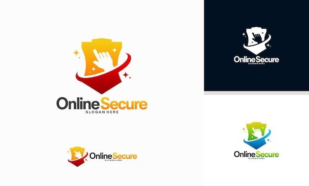 Vector de concepto de diseños de logotipos seguros en línea, diseños de plantillas de logotipos de cursor y escudo
